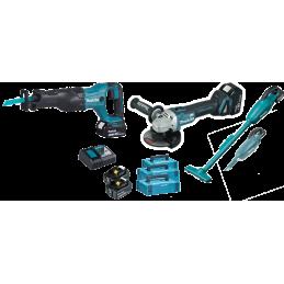 Makita 3 Tool Kit  18V / Akku-Winkelschleifer 125mm + Akku-Säbelsäge + Akku - 2 in 1 Sauger