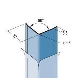 Kantenschutzprofil zum Kleben, 32x32x1.25mm