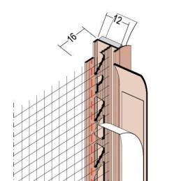 Anputzdichtleiste für 12mm Putzdicke, mit Gewebe und Dichtlippe