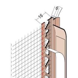 Anputzdichtleiste für 6mm Putzdicke, mit Gewebe und Dichtlippe