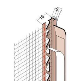 Anputzdichtleiste für 6mm Putzdicke, mit Gewebe und Schattenfuge