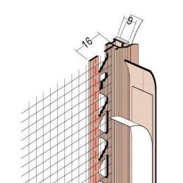 Anputzdichtleiste für 9mm Putzdicke, Gewebe, PVC Bewegungselem. u. Schutzlippe