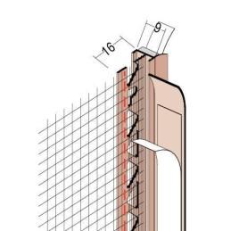 Anputzdichtleiste für 9mm Putzdicke, mit Gewebe und Dichtlippe