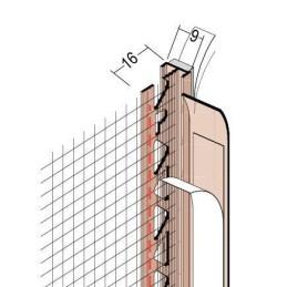 Anputzdichtleiste für 9mm Putzdicke, mit Gewebe und Schattenfuge