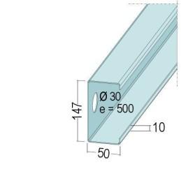 C-Wandprofil, 147x52x2.0mm