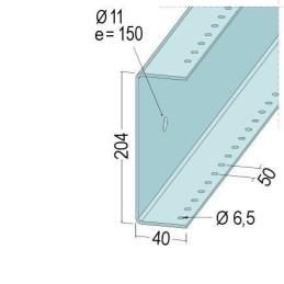 U-Anschlussprofil, 204x40x3.0mm