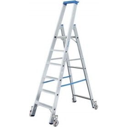Krause Aluminium Stufen-Stehleiter Fahrbar Arbeitshöhe (Max.): 2.95 M Silber 8.7 Kg
